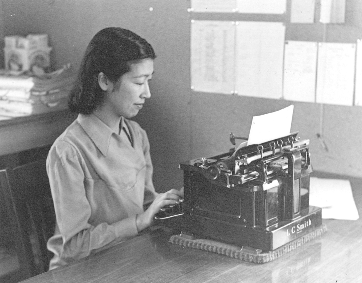 Heart Mountain Interpretive Center woman typing archives
