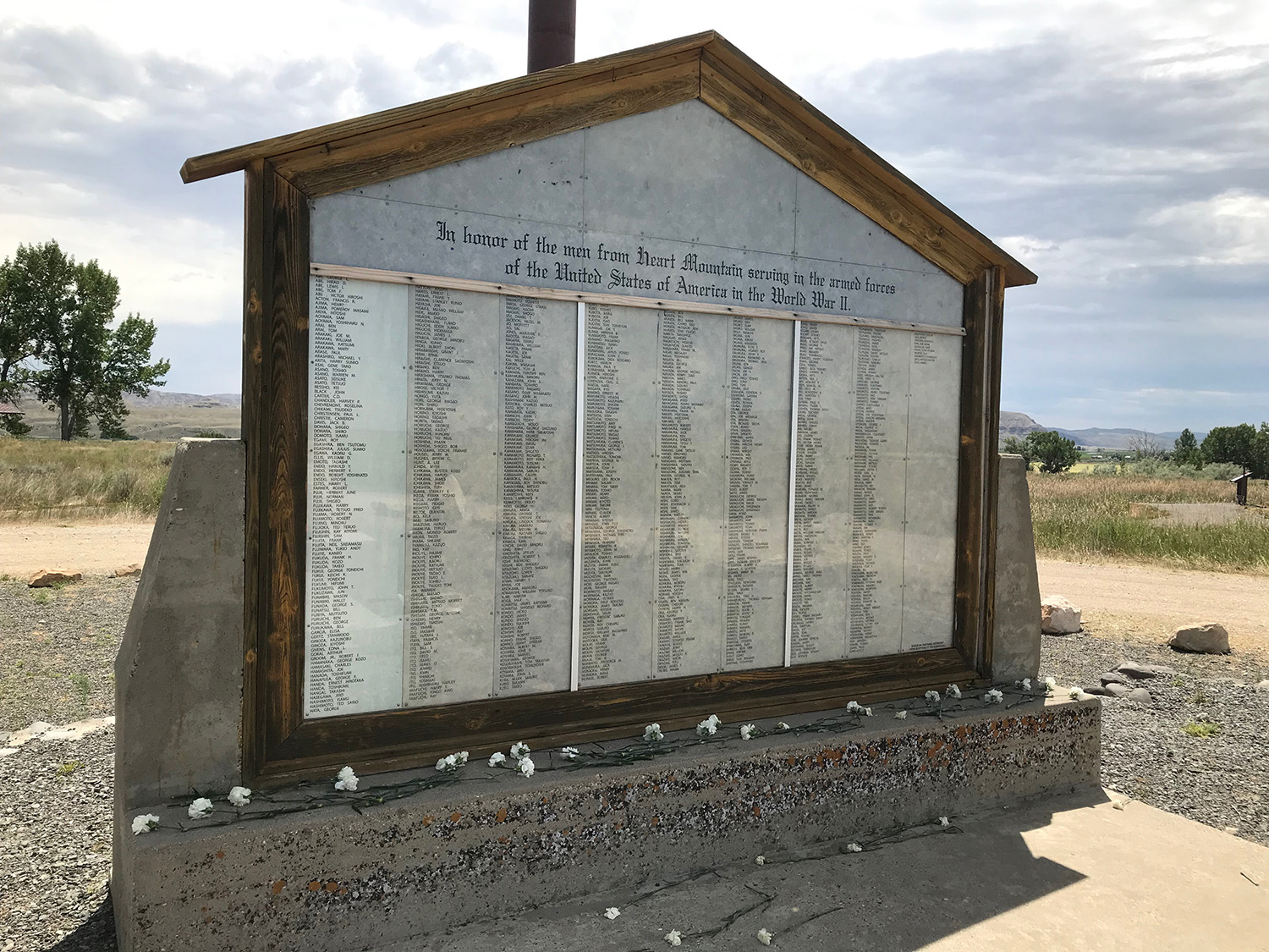 Honor Roll sitting outside Heart Mountain Wyoming